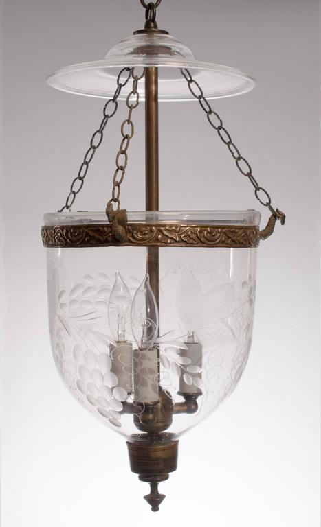 Pair Of 19th Century English Bell Jar Lanterns With Grape