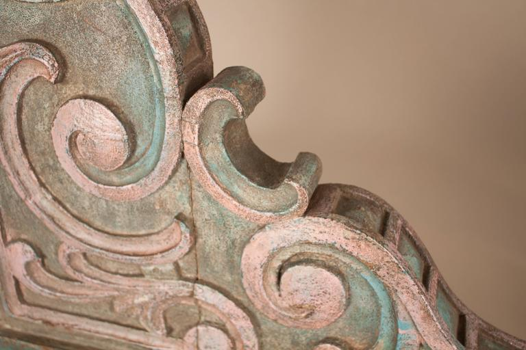 Hand-Carved Pair of Painted Teak Wood Corbels For Sale