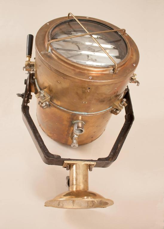 Vintage Nautical Brass Daylight Signaling Lamp In Good Condition For Sale In Shelburne Falls, MA