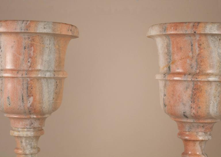 Indian Pair of Marble Standing Jardinieres For Sale