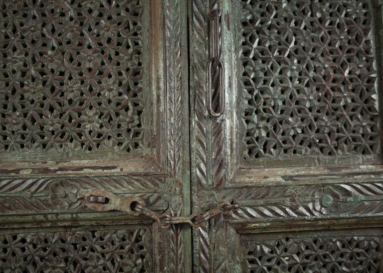Indian Carved, Painted Wood Door from India For Sale