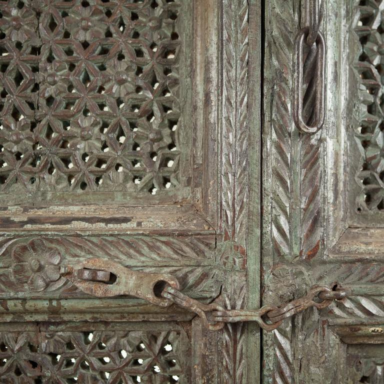 Anglo-Indian Carved, Painted Wood Door from India For Sale