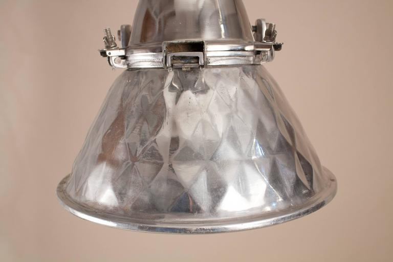 Pressed Aluminum Industrial Pendant Light In Good Condition For Sale In Heath, MA