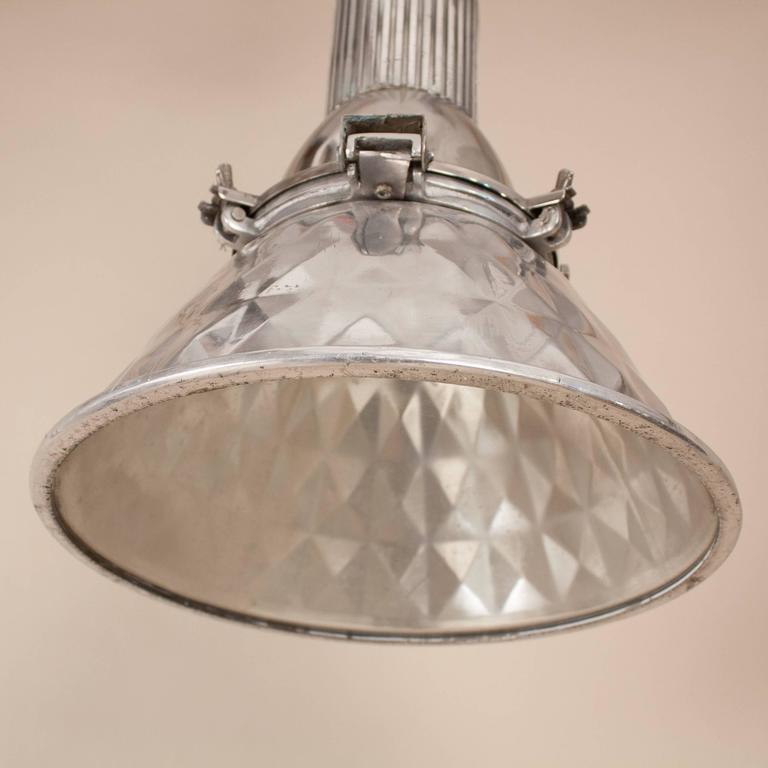 20th Century Pressed Aluminum Industrial Pendant Light For Sale