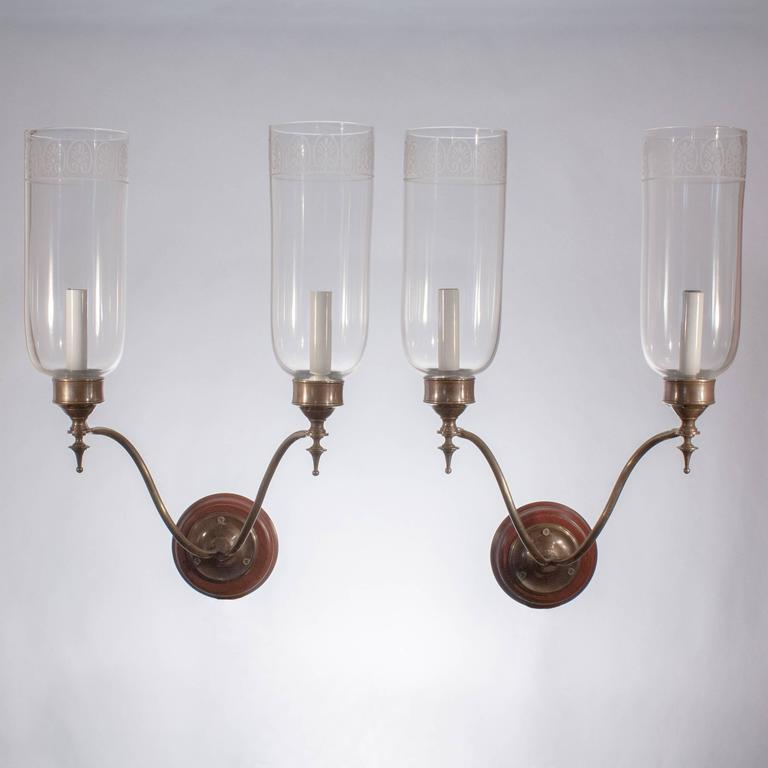 Wall Sconces Double : Pair of Double Arm Glass Hurricane Shade Wall Sconces For Sale at 1stdibs