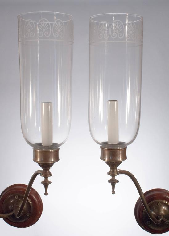 Double Wall Sconce With Shades : Pair of Double Arm Glass Hurricane Shade Wall Sconces For Sale at 1stdibs