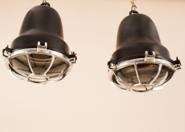 American Pair of Aluminum and Black Painted Nautical Pendant Lights For Sale