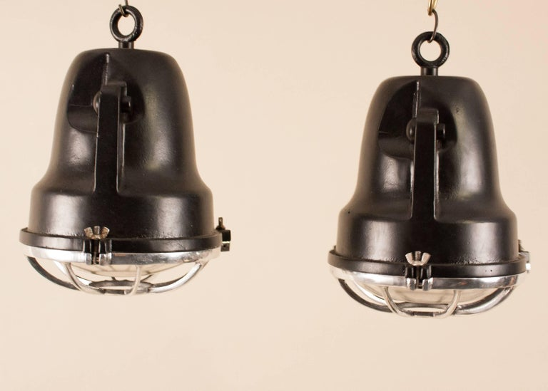 Industrial Pair of Aluminum and Black Painted Nautical Pendant Lights For Sale