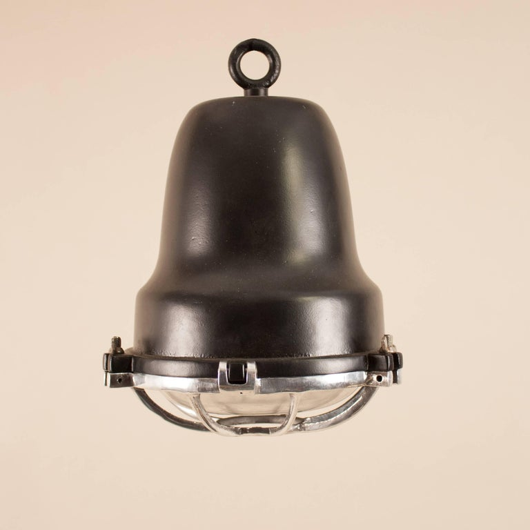 Powder-Coated Pair of Aluminum and Black Painted Nautical Pendant Lights For Sale