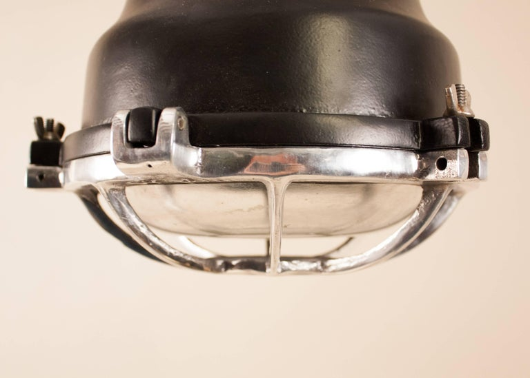 20th Century Pair of Aluminum and Black Painted Nautical Pendant Lights For Sale
