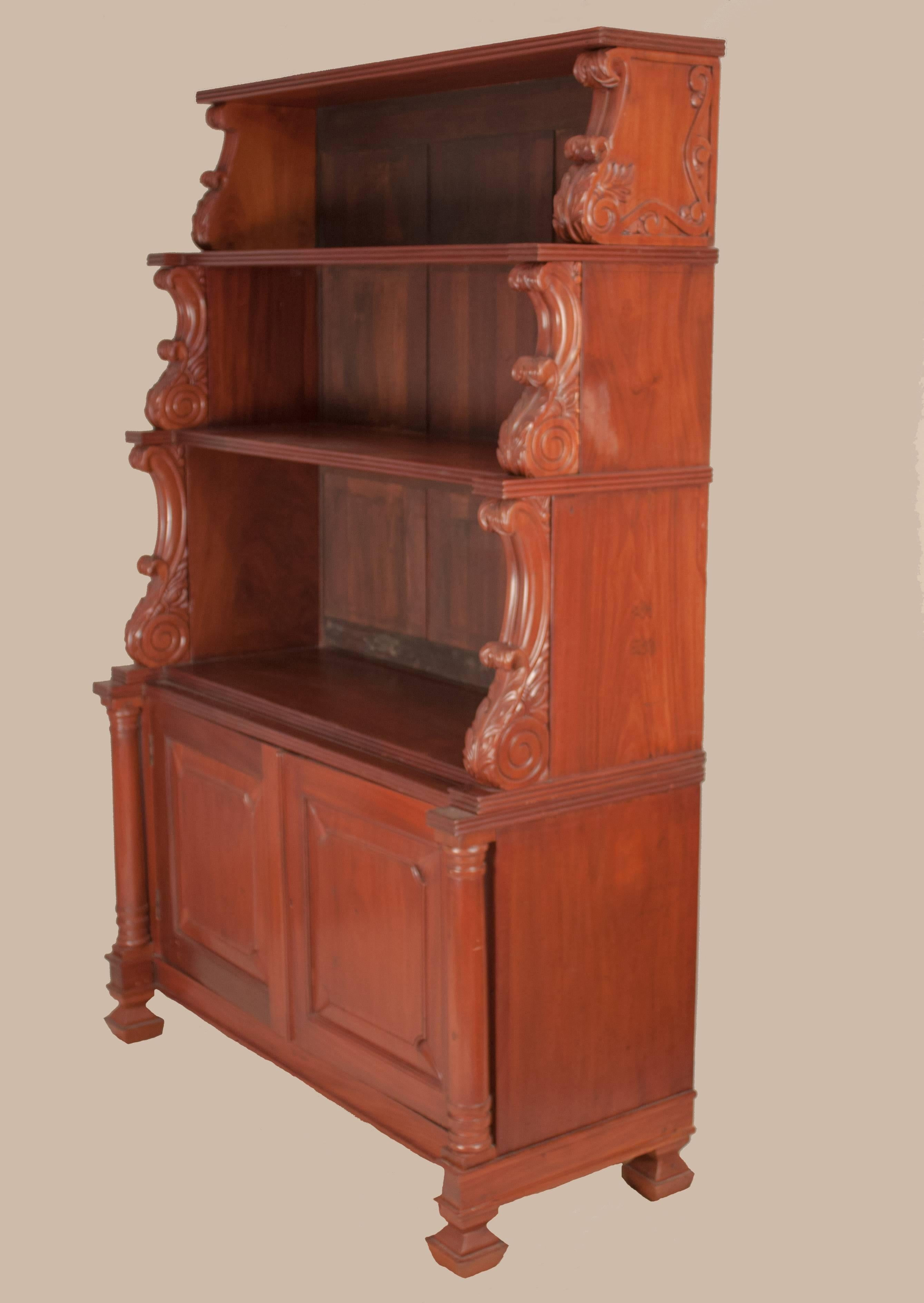 Indo Portuguese Hutch Or Display Case In Rich Mahogany With Carved Acanthus  Details, Circa