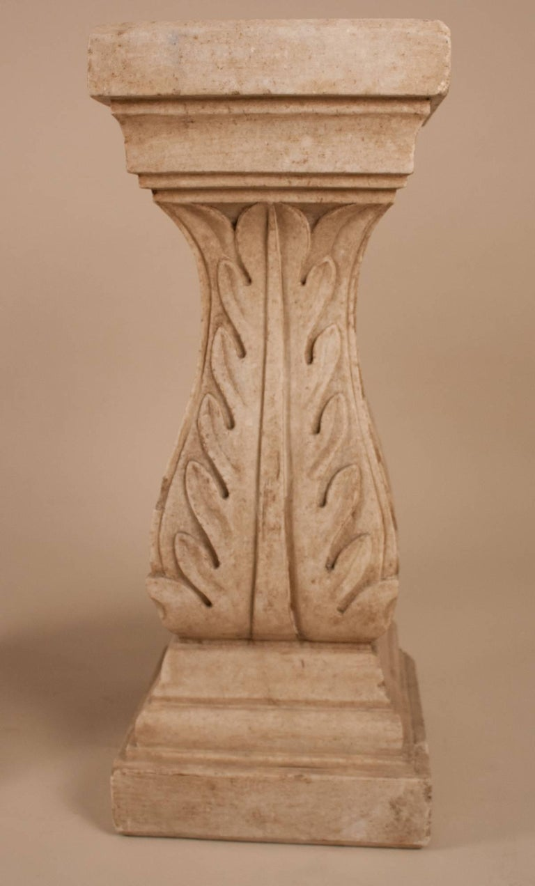 Carved Pair of White Marble Pedestals or Stands For Sale
