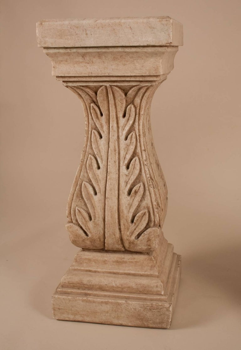 Pair of White Marble Pedestals or Stands In Good Condition For Sale In Shelburne Falls, MA