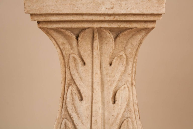 20th Century Pair of White Marble Pedestals or Stands For Sale