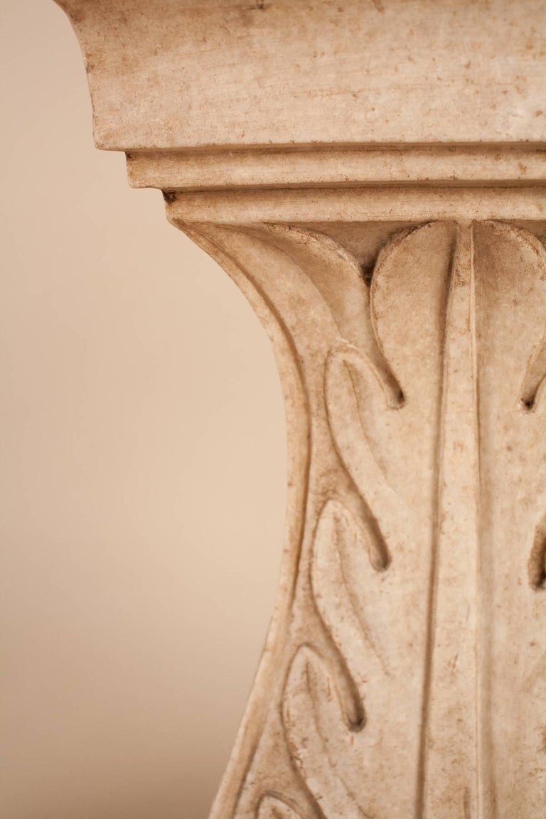 Pair of White Marble Pedestals or Stands For Sale 1