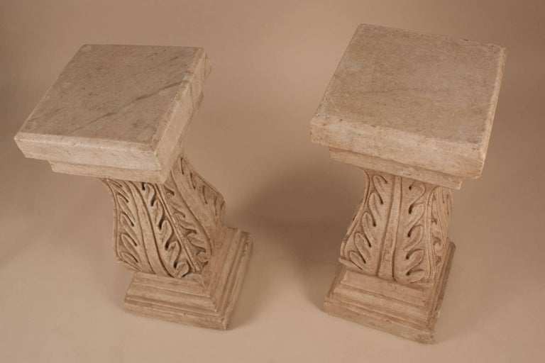 Pair of White Marble Pedestals or Stands For Sale 2