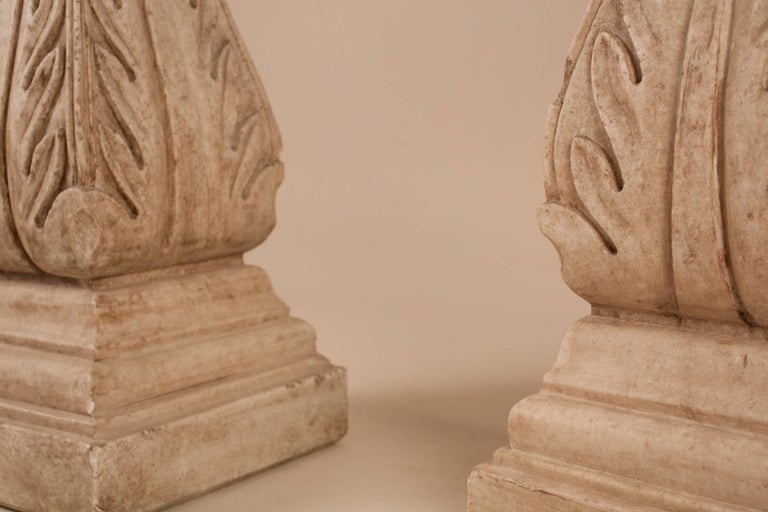 Pair of White Marble Pedestals or Stands For Sale 3