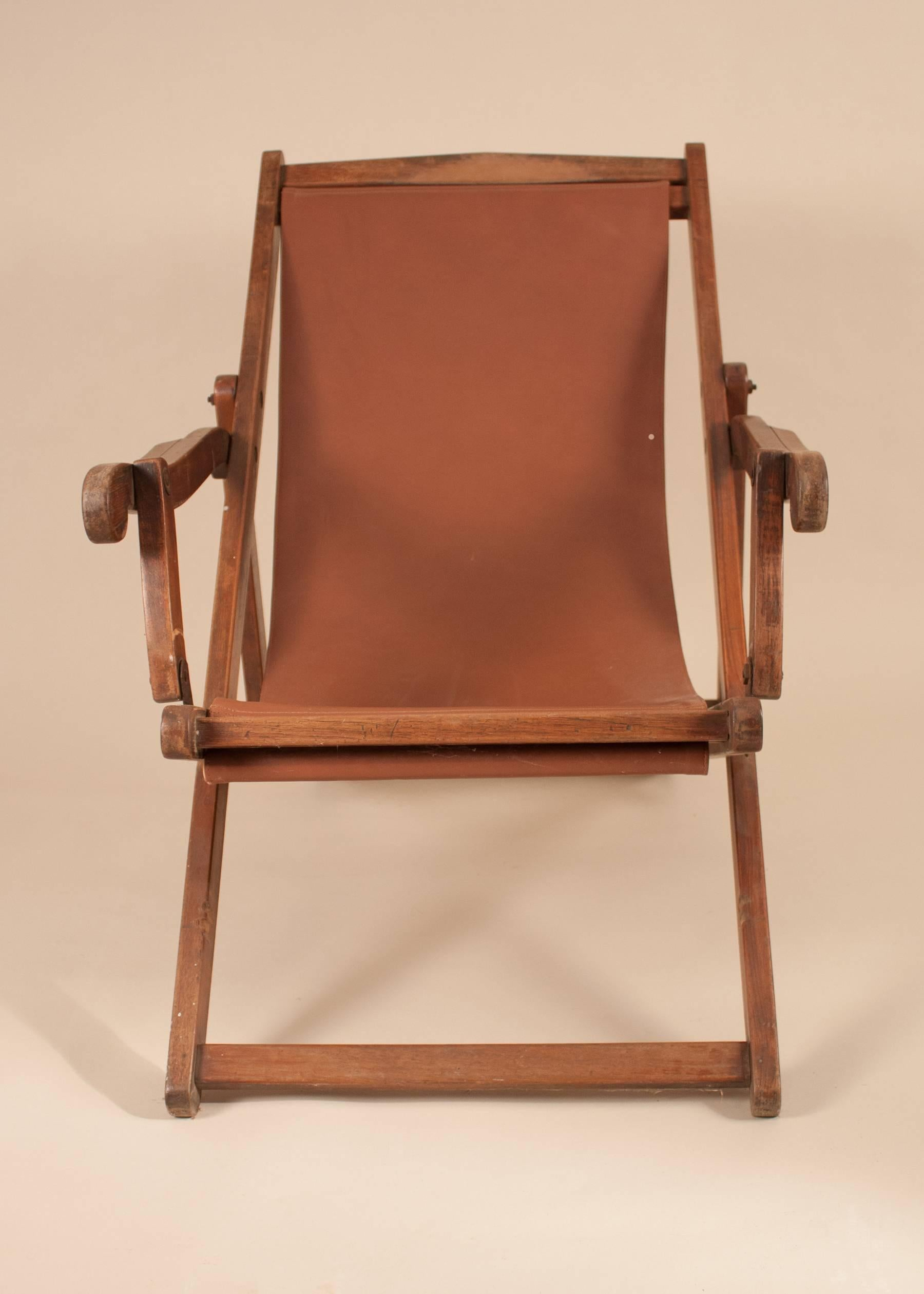 British Campaign Folding And Adjustable Mahogany Sling Back Chair With Its  Original Wood Finish. The