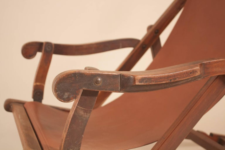 Indian British Campaign Sling Lounge Chair For Sale