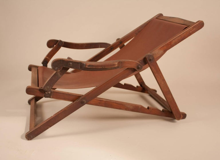 Leather British Campaign Sling Lounge Chair For Sale