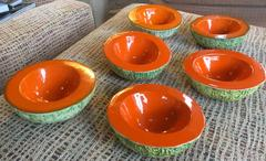 Set of Six Rare Mid-Century Italian Cantaloupe Bowls by Langbein