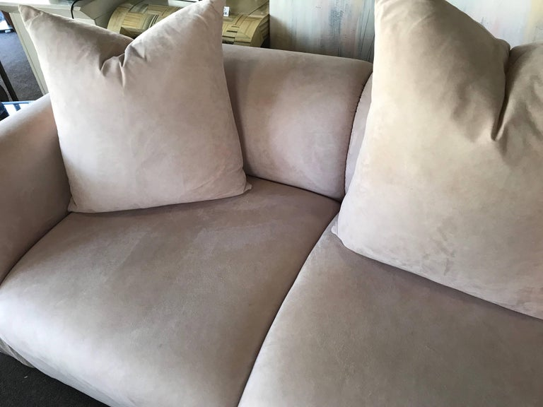 Groovy Blush Ultra Suede 80S Modern Ruched Arm Sofa With Matching Pillows Creativecarmelina Interior Chair Design Creativecarmelinacom