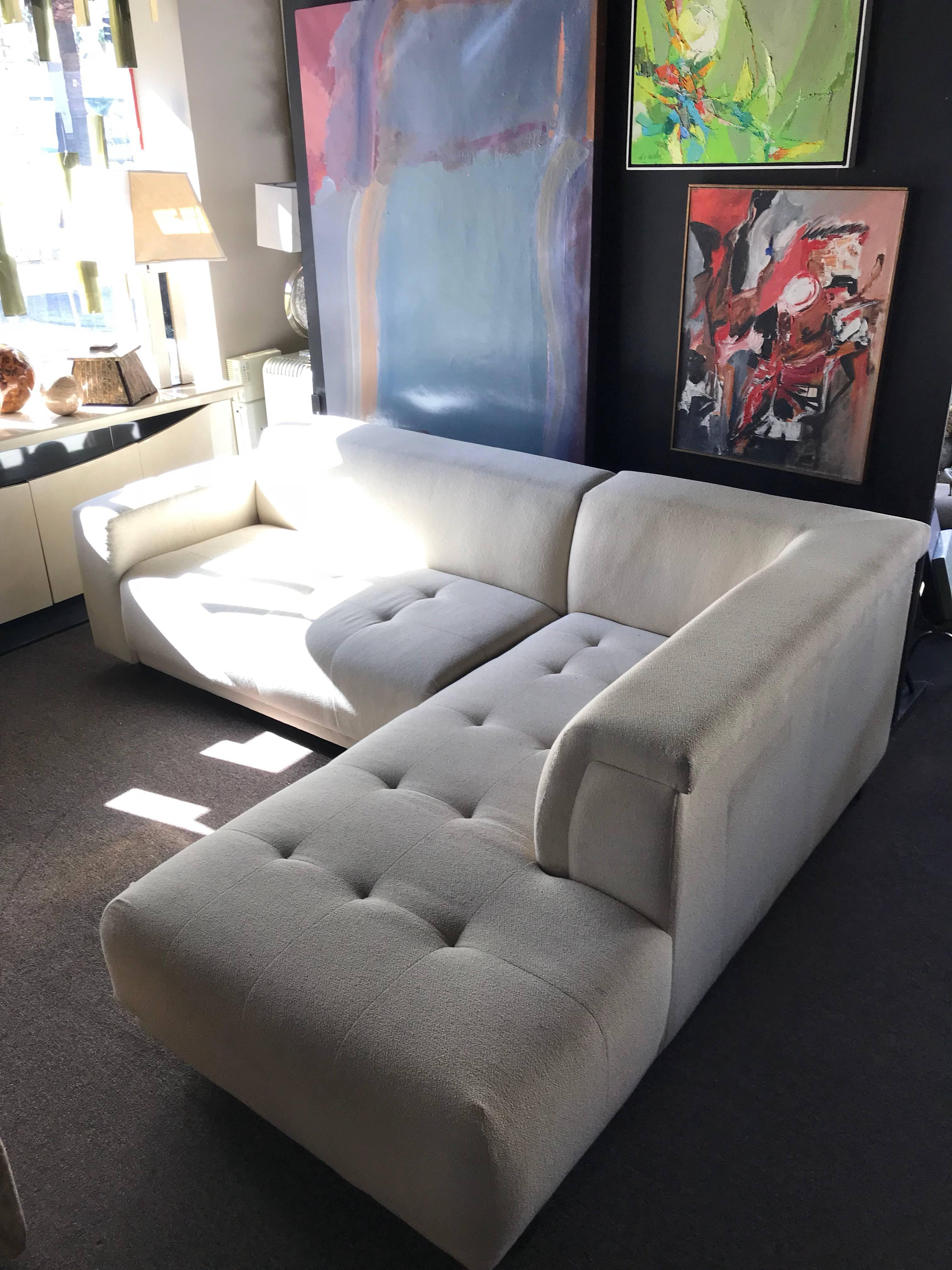 A Very Sleek And Sexy Crème Color High End Chenille Fabric Two Piece  Sectional.