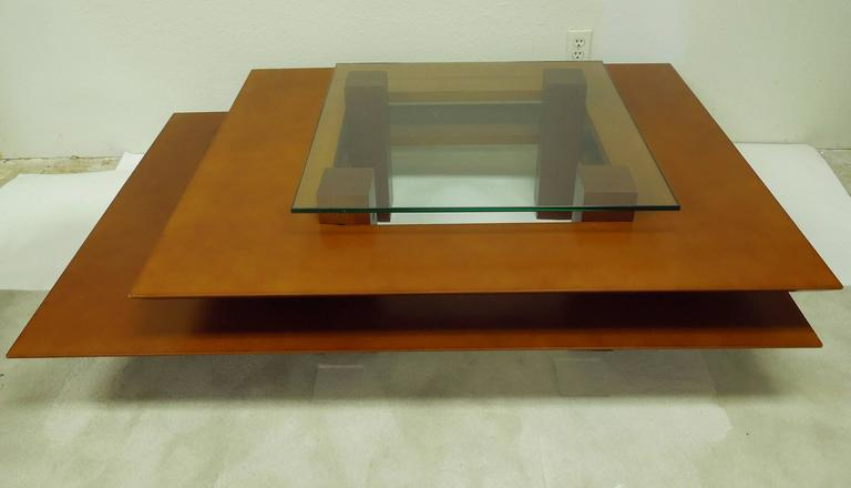 Hand-Crafted Three-Tier 1990s Vintage French Modern Coffee Table by Clemmer Heidsieck For Sale