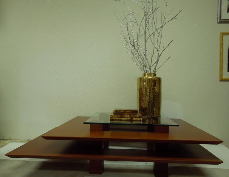 Three-Tier 1990s Vintage French Modern Coffee Table by Clemmer Heidsieck In Good Condition For Sale In Palm Springs, CA