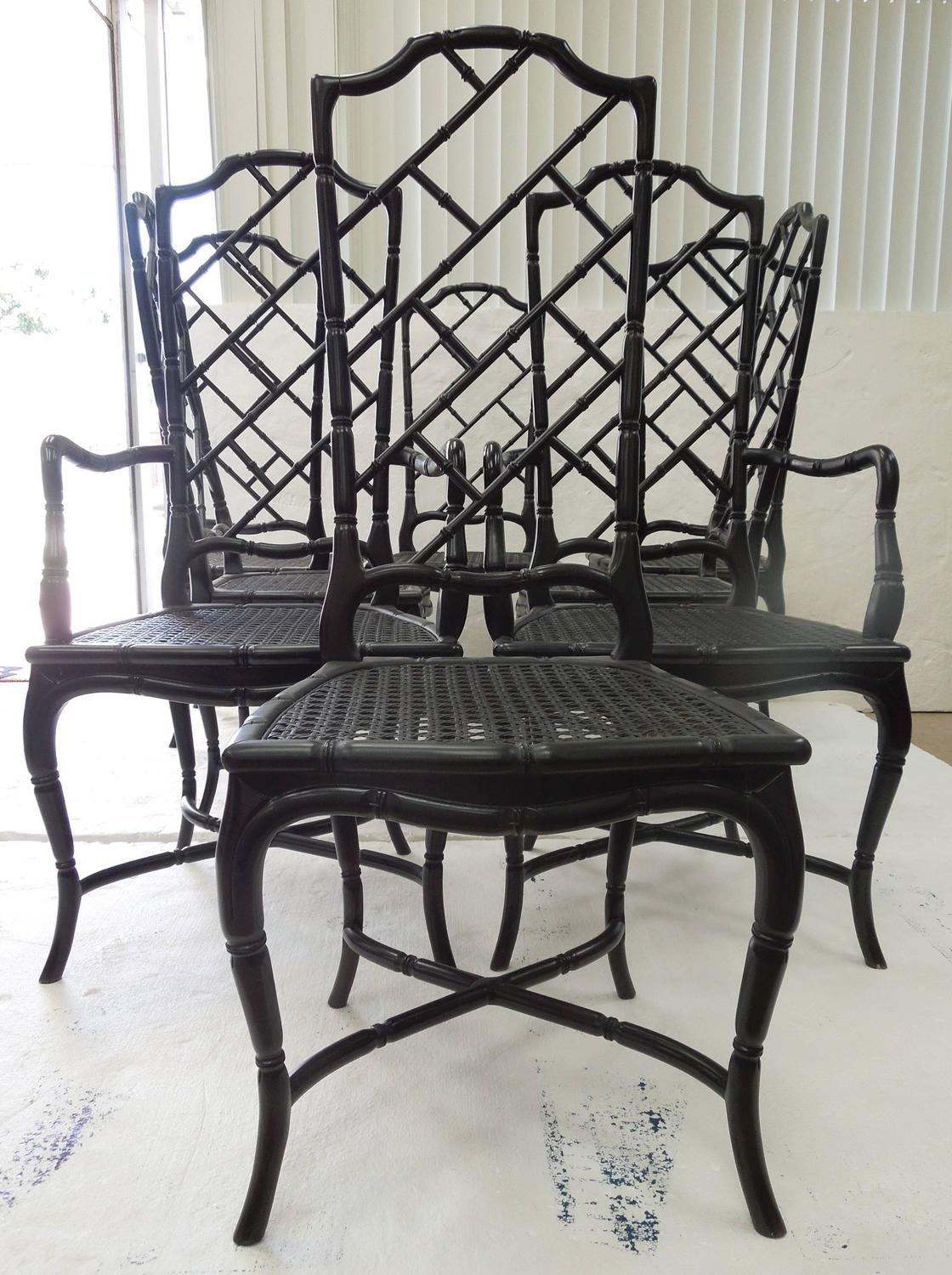 Set Of Eight Regency Style High Back Chinese Chippendale Dining Chairs At 1st