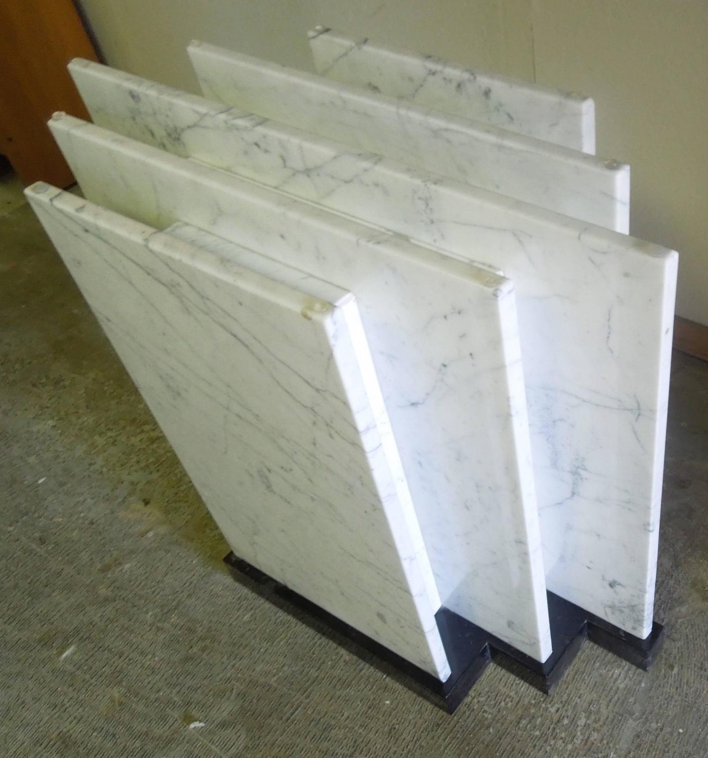 80s custom made italian marble and glass modern architect for Custom made marble dining tables