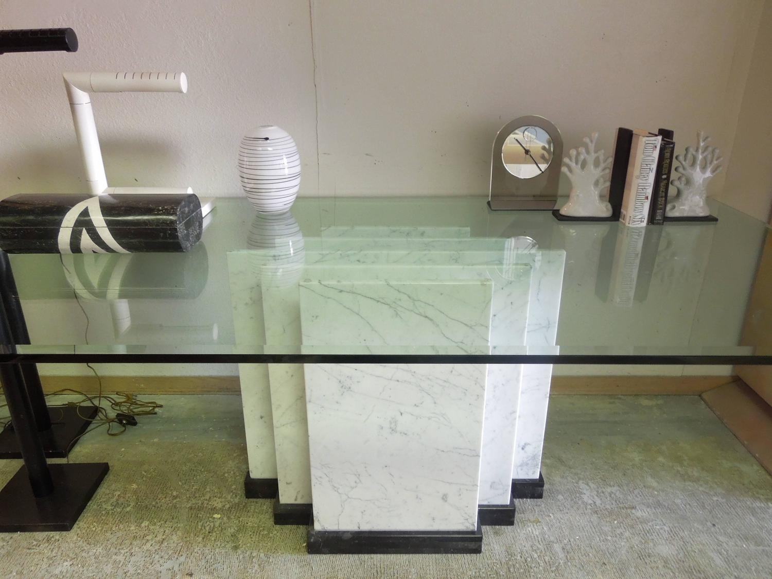 Custom Made Italian Marble And Glass Modern Architect Dining Tabl