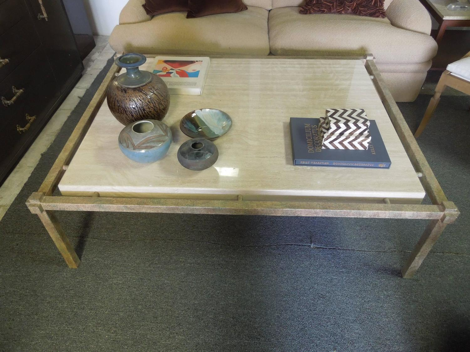 80s Vintage Modern Steve Chase Custom Made Travertine And Metal Coffee Table For Sale At 1stdibs