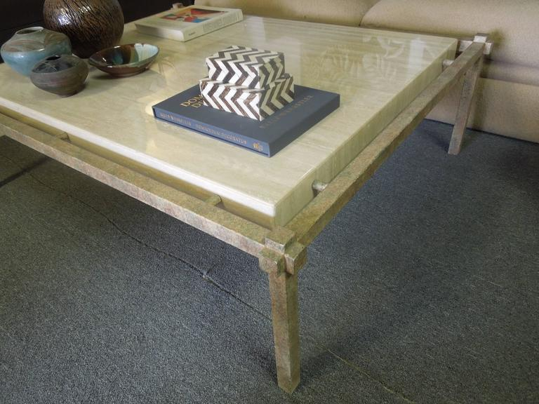 80s Vintage Modern Steve Chase Custom Made Travertine And Metal Coffee Table At 1stdibs