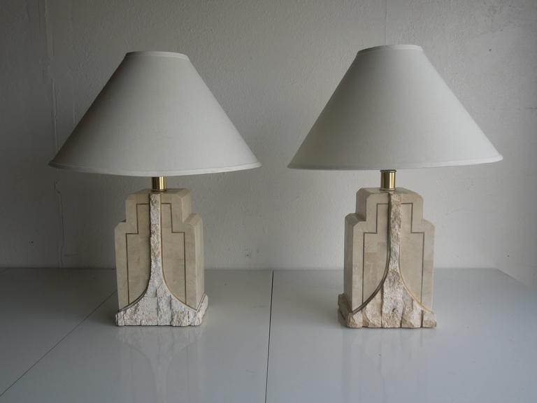 Pair Of Vintage Maitland Smith Tessellated Stone Lamps At