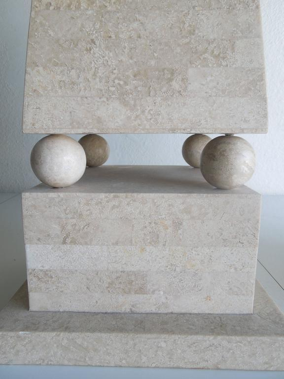 Modern Pair of Lagre Maitland Smith Modenist Stone Obelisks For Sale