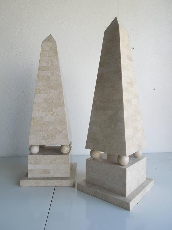 Philippine Pair of Lagre Maitland Smith Modenist Stone Obelisks For Sale