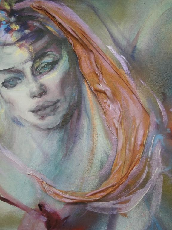 American  Hyacinth Kuller Baron Female Portrait Original Oil on Canvas Painting For Sale