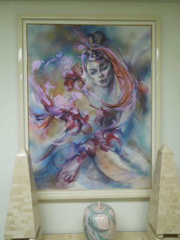 Late 20th Century  Hyacinth Kuller Baron Female Portrait Original Oil on Canvas Painting For Sale