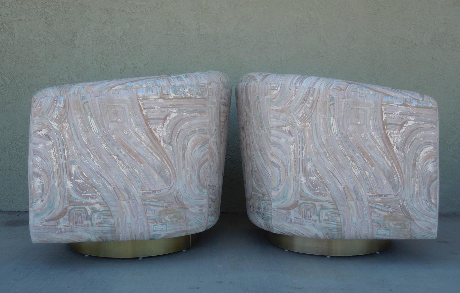 Vintage Pair Of Modern Brass Barrel Swivel Chairs In