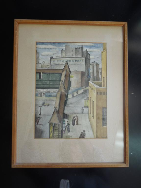 Spectacular Orig Watercolor Painting New York City 1934