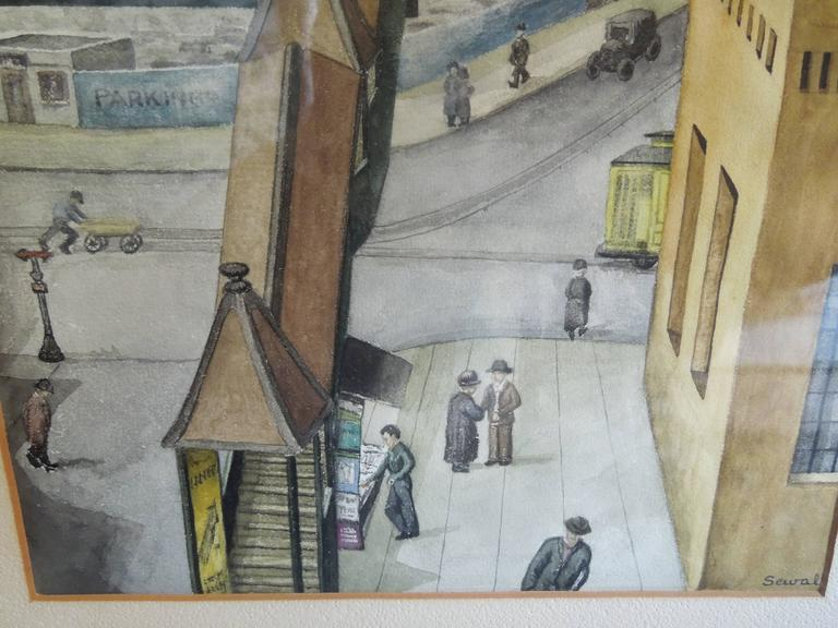 spectacular orig watercolor painting new york city 1934 by wpa artist sewall for sale at 1stdibs. Black Bedroom Furniture Sets. Home Design Ideas