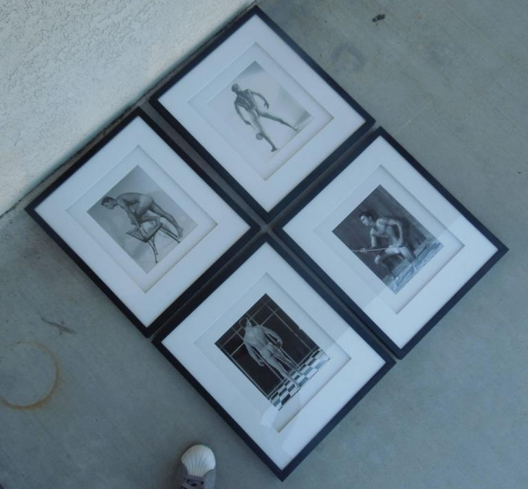 From an important collection of Male Physique and Beefcake Photography, these are four images printed in the 1960s and are all signed by the studio when Mr. Bruce Bellas aka Bruce of LA was alive. Beautifully, professionally framed. Double white