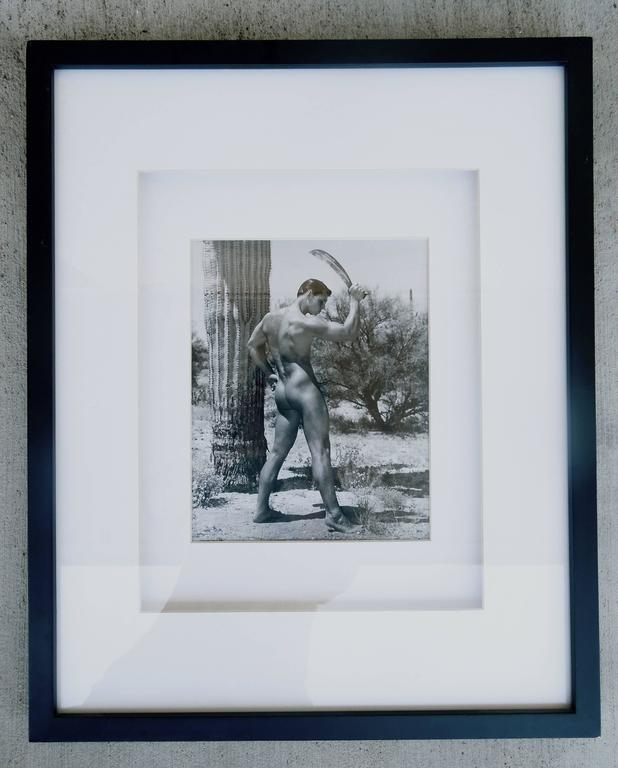 These are a rare pair (Front view and back view set) of Bruce Bellas aka Bruce of LA male physique photos. Shot in Palm Springs CA in the late 1950s. The photos include the model name Ed Lincoln on the back of the photos. One signed Bruce on back. A