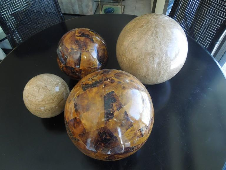 Modern Set of Four Maitland Smith Tessellated Stone Spheres For Sale