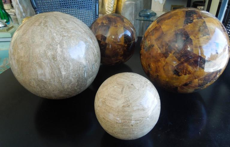 Hand-Crafted Set of Four Maitland Smith Tessellated Stone Spheres For Sale