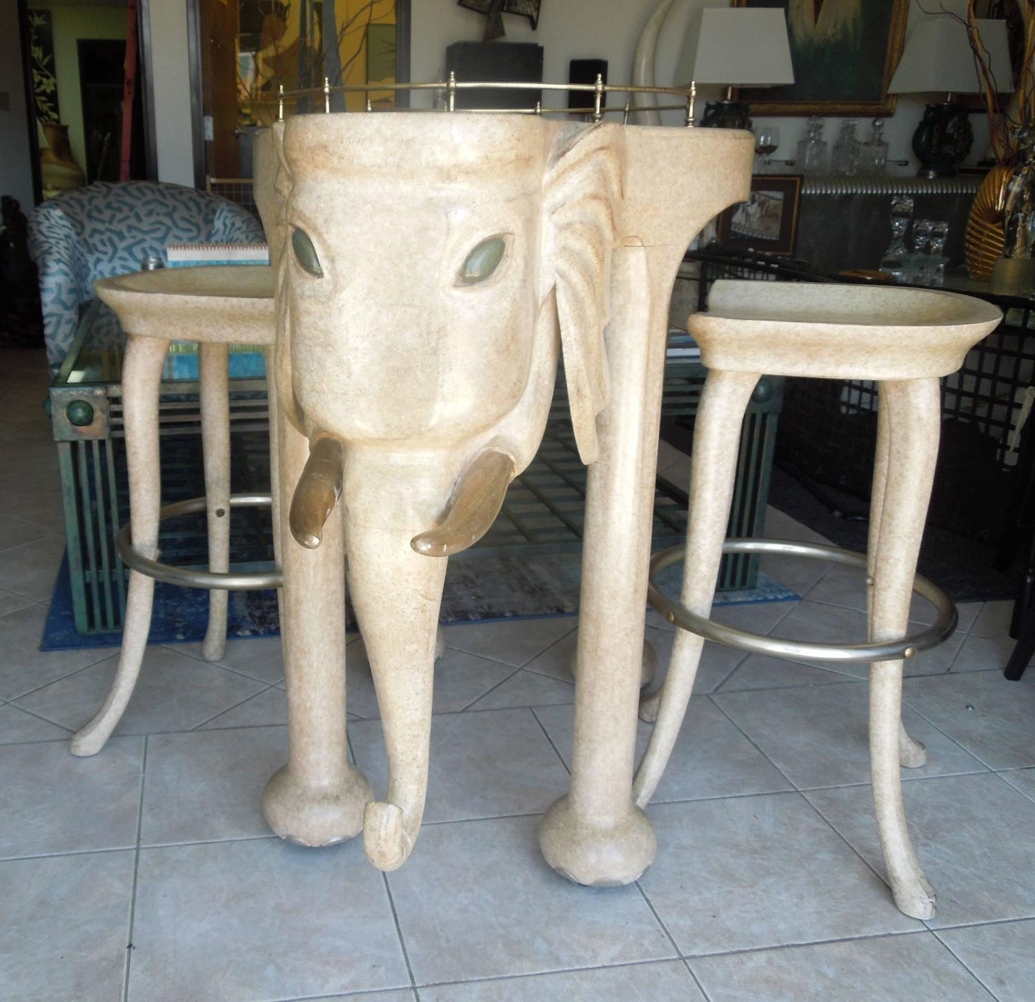Rare Three Piece 1980s Elephant Bar Table And Stools
