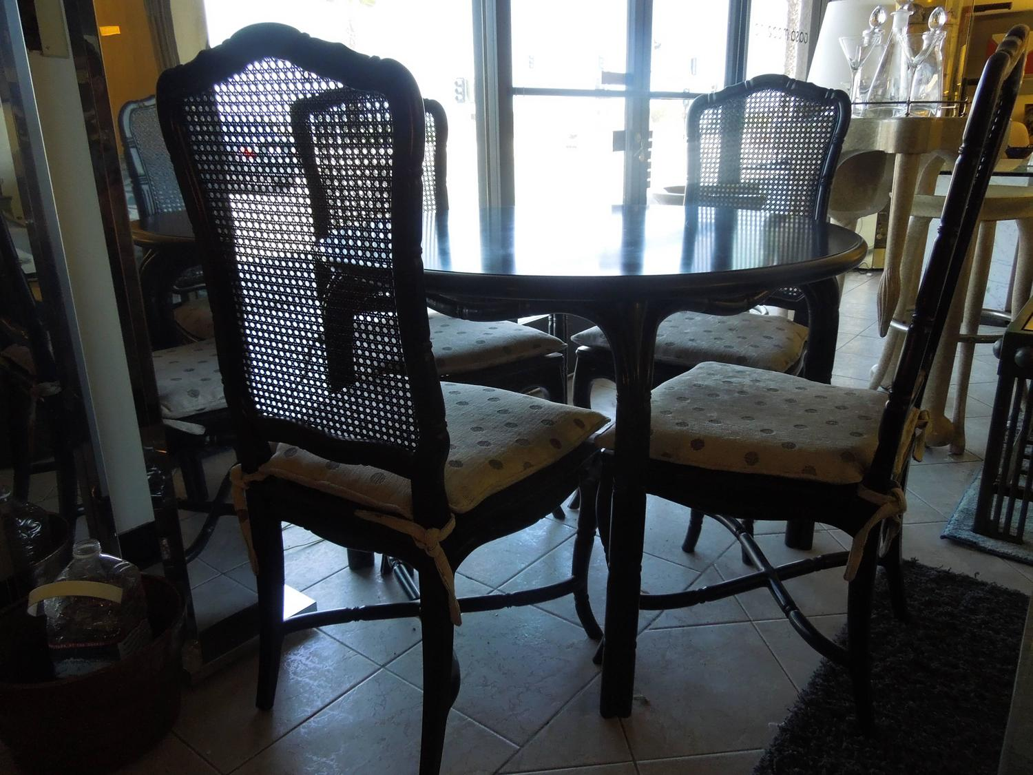 Vintage hollywood regency black round dining or game table and four chairs set for sale at 1stdibs for Regency furniture living room sets