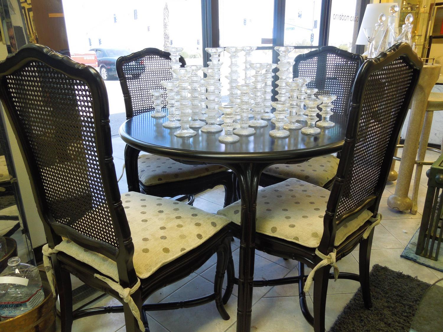 vintage hollywood regency black round dining or game table and four chairs set for sale at 1stdibs. Black Bedroom Furniture Sets. Home Design Ideas