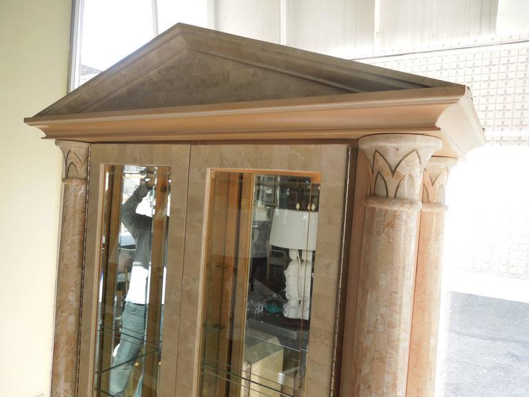Spectacular Neoclassical Custom Stone and Brass Glass Cabinet by Maitland Smith 2